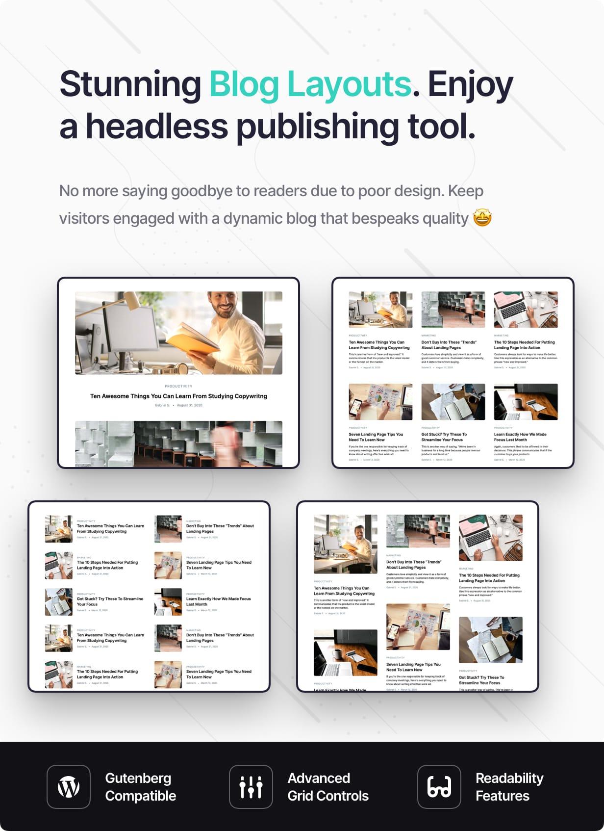Stunning Blog Layouts. Enjoy a headless publishing tool.
